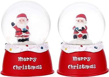 Toyvian 2pcs Christmas Snow Globe Ball Glass Santa Holiday Crystal Ball Glitter Snow Globe Christmas Table Adornment Xmas Gif