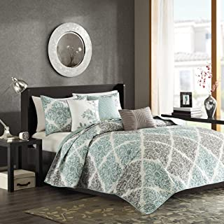 Madison Park Claire Leaf Geometric – 6 Piece Ultra Soft Microfiber Bed Quilted Coverlet, King/Cal King, Aqua