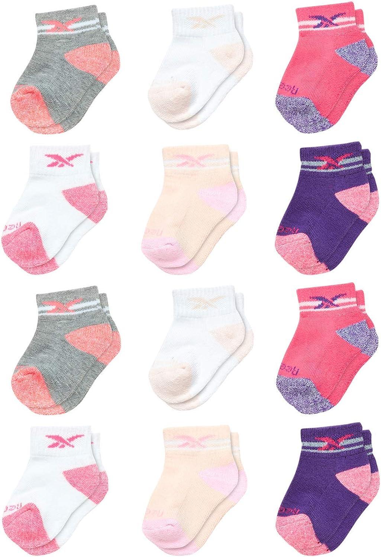 Reebok Infant & Toddler Girl's Comfort Cushion Quarter Cut Socks (12 Pack)