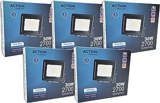 FactorLED ¡OFERTA! Pack x5 Foco LED 30W Negro Slim, Iluminación Exterior e Interior, Proyector Ultrafino IP65, Floodlight Decoración, [Eficiencia energética A+] (Luz Fría (6000K))