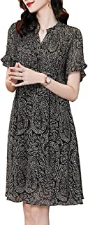Women Summer Casual Dress Short Sleeve Knee Length Dress Comfy Swing Dress غير رسمي (Color : Black, Size : 4XL)