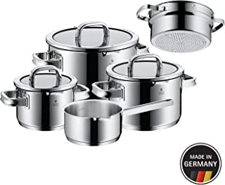 WMF Function 4 Cookware Set, 5 Piece with Steamer Insert, Stainless Steel, Glass Lid Suitable for Induction Cookers, Dishwasher Safe, Black