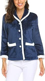Women's Bed Jacket Contrast Long Sleeve Warm Shawl Collar Fleece Soft Button Tops