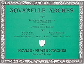Arches 200177170 Watercolor Block Cold Press, 12X16-Inch, 20 Sheets