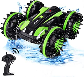 Flyglobal Waterproof RC Stunt Car Toy for Kids, 4WD Amphibious Remote Control Car Boat Truck Vehicles 2.4Ghz Double Sided Rotate Water and Land 360 Spins Gifts Car Toys for Boys Girls, Green