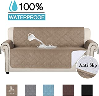 100% Waterproof Chair Cover for Living Room Sofa Slipcover Sofa Cover Furniture Protector Anti-Slip Couch Shield Non Slip Furniture Protector (Sofa 75 x 112) Taupe