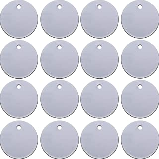 SATINIOR 100 Pieces Stamping Blank Tags 1 Inch Round with Hole Aluminum Blanks Tags