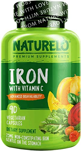 NATURELO Vegan Iron Supplement with Whole Food Vitamin C - Best Natural Iron Pills for Women & Men w/Iron Deficiency ...