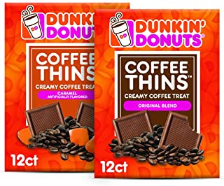 Dunkin' Donuts Coffee Thins – Original Blend & Caramel – 24 Dunkin Coffee Candy Squares (2 Bags)