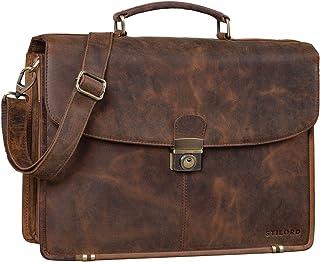 """STILORD Miguel"""" Klassische Leder Aktentasche Schwarz Herren große Businesstasche Arbeit Bürotasche mit Schloss zum Umhängen 15,6 Zoll Laptoptasche"""