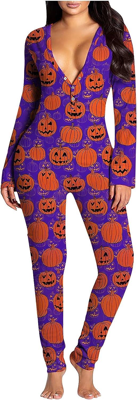 MIVAMIYA Women Long Sleeve Button-Down Jumpsuit Halloween Deep V Neck Bodysuit Buttoned Flap Pajamas Onesie Rompers Overall
