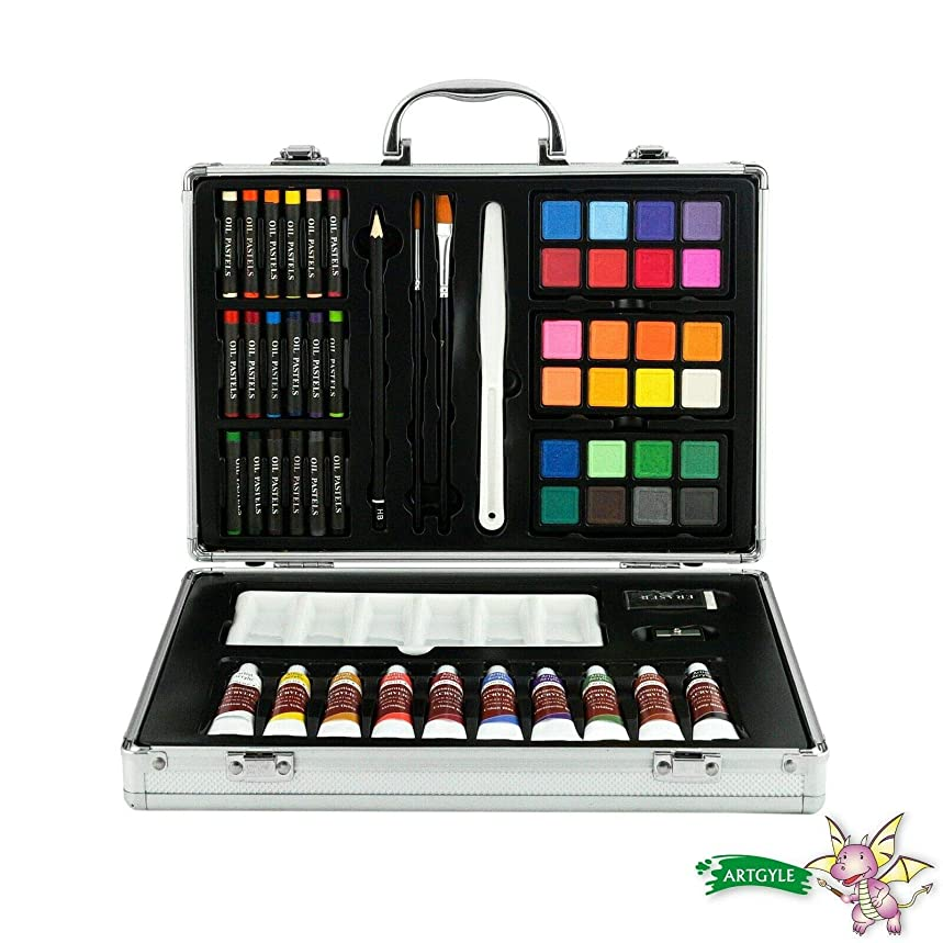 ARTGYLE 60 Piece Deluxe Mixed Media Art Set in Aluminium Box, with Watercolor Cakes,Oil Pastels, Acrylic Paint Tubes, Sketching Pencil and Tools