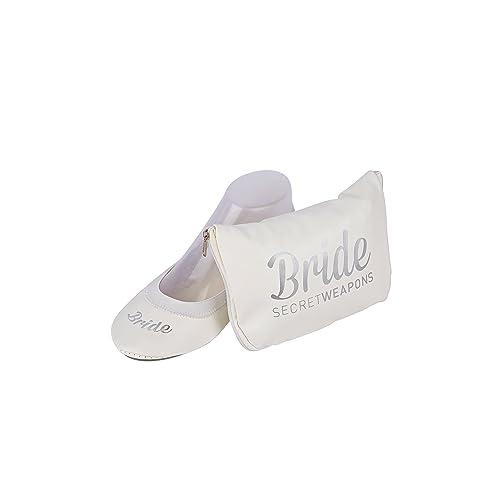 03084cbe6 SECRET WEAPONS White Bride Fold Up Ballet Flats-White Foldable Shoes with  Bride Print-