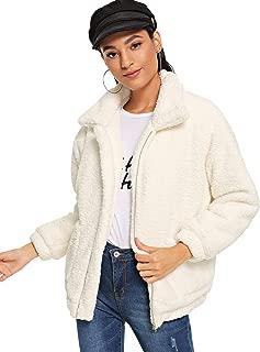 MAKEMECHIC 女式长袖拉链双口袋人造毛皮外套 白色 X-Large