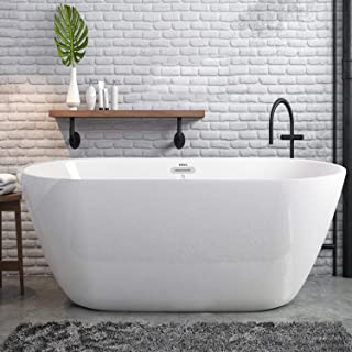 FerdY Freestanding Bathtub Gracefully Shaped Freestanding Soaking Bathtub, 02538-55''Glossy White cUPC Certified(Ferdy-053...