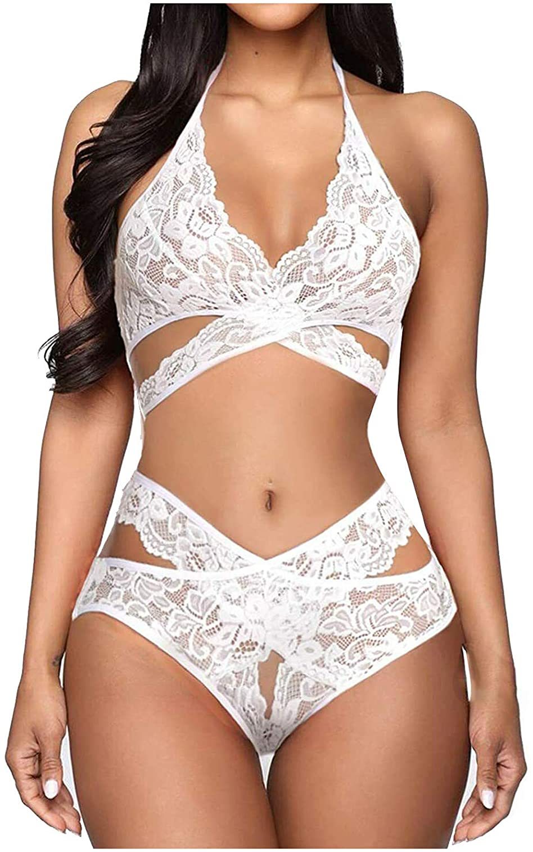 ONHUON Lingerie for Women,Women Plus Size Sexy Lace Baby Doll for Sex Play Teddy Bodysuit Bralette Panty Underwear Set