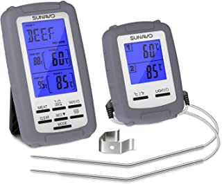 SUNAVO Turkey Meat Thermometer for Grilling,Wireless Barbecue Thermometer Digital with Large LCD and Timer Alarm for Grilling Oven Kitchen Smoker BBQ Grill with Dual Probe(Grey)