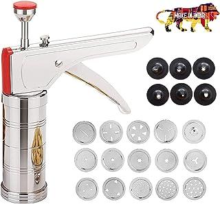 WSK Choice Kitchen Magic Press Slicer Stainless Steel Kitchen Press/Noodles/Murukku Maker with 15 sieves and 6 Plastic Sie...
