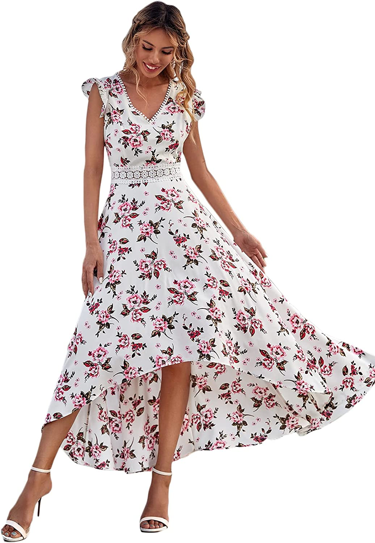 Floerns Women's All Over Print Deep V Neck Ruffle Hem Dress for Summer