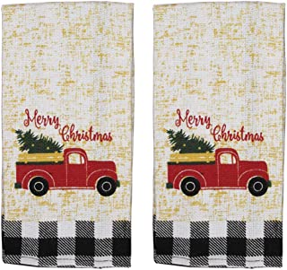 Red Truck Christmas Kitchen Towels Set of 2   Black Buffalo Plaid Christmas Dish Towels   Farm Truck Tea Towels
