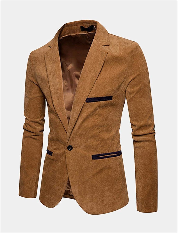 DZHT Mens Business Slim Suit Vintage Casual Suits (Color : Khaki, Size : X-Large)