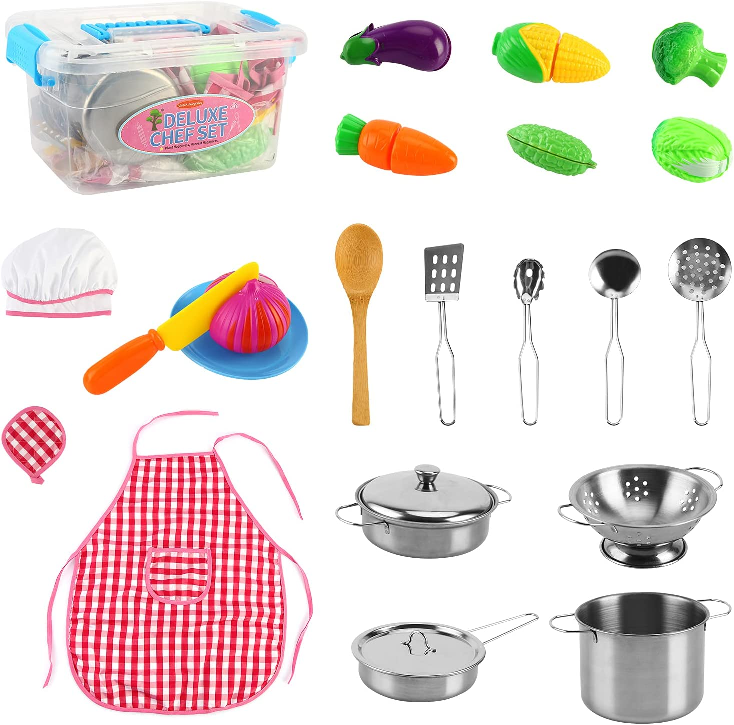 AMAMIA Kitchen Pretend Super special price Play Trust Toys Cooking with 23Pcs Kids
