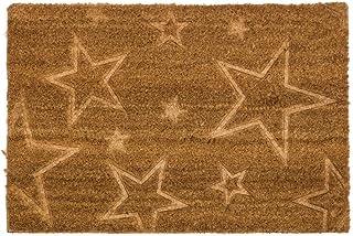 D'CASA Felpudo de Fibra de Coco Estrellas, Beige, 40 x 60 cm