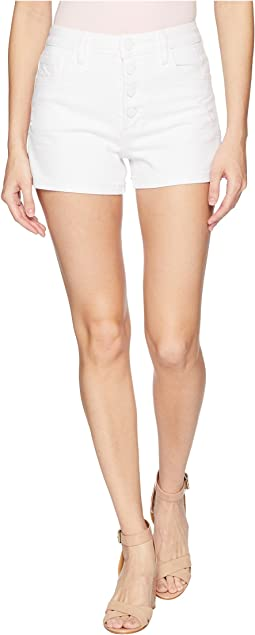 High-Rise Sarah Shorts w/ Exposed Button Fly + Raw Hem in Lived In Crisp White