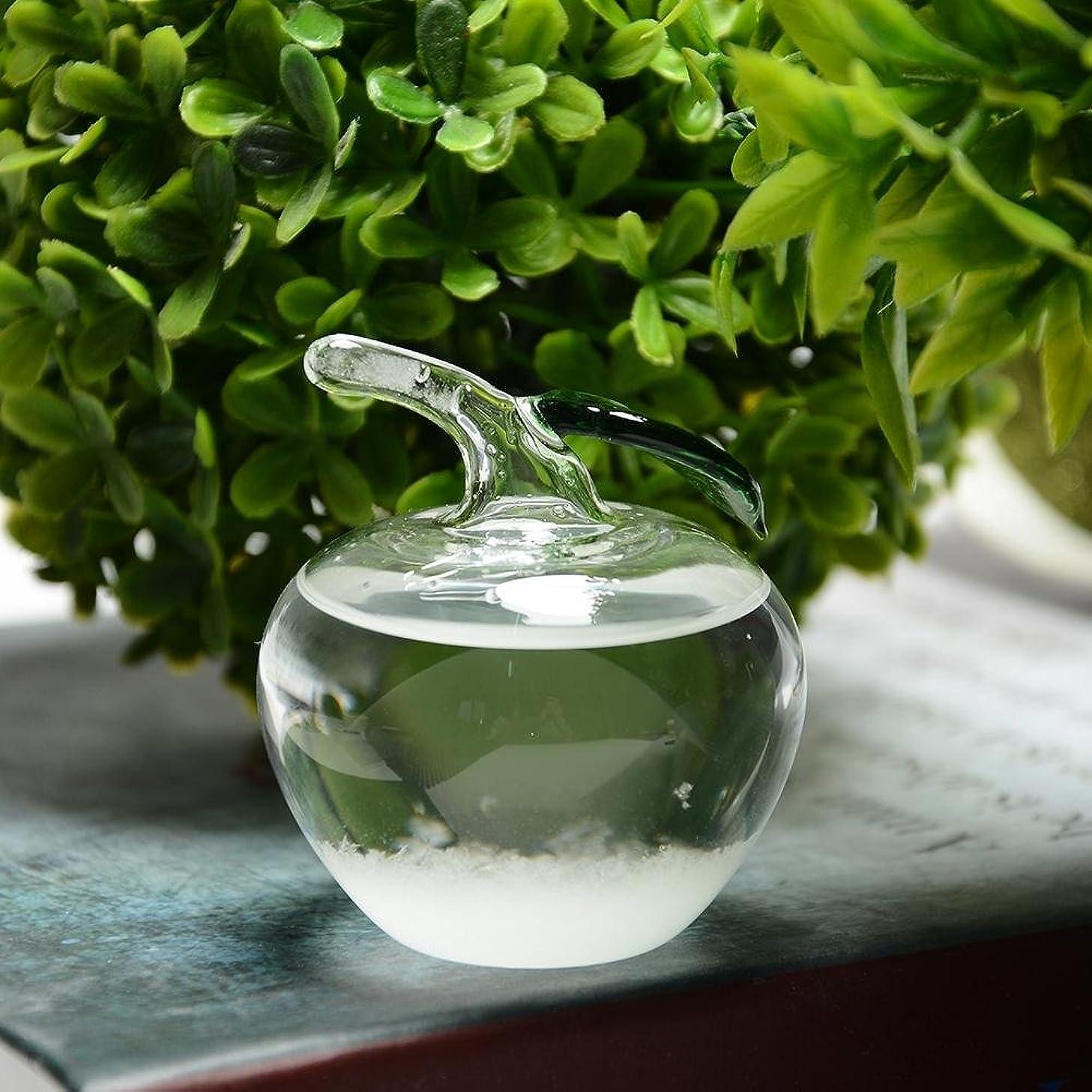 献身廃止発明するJicorzo - 小さなクリスタル天気予報ボトルガラスストームボトルホームオフィスの装飾のギフト[ミニアップル]