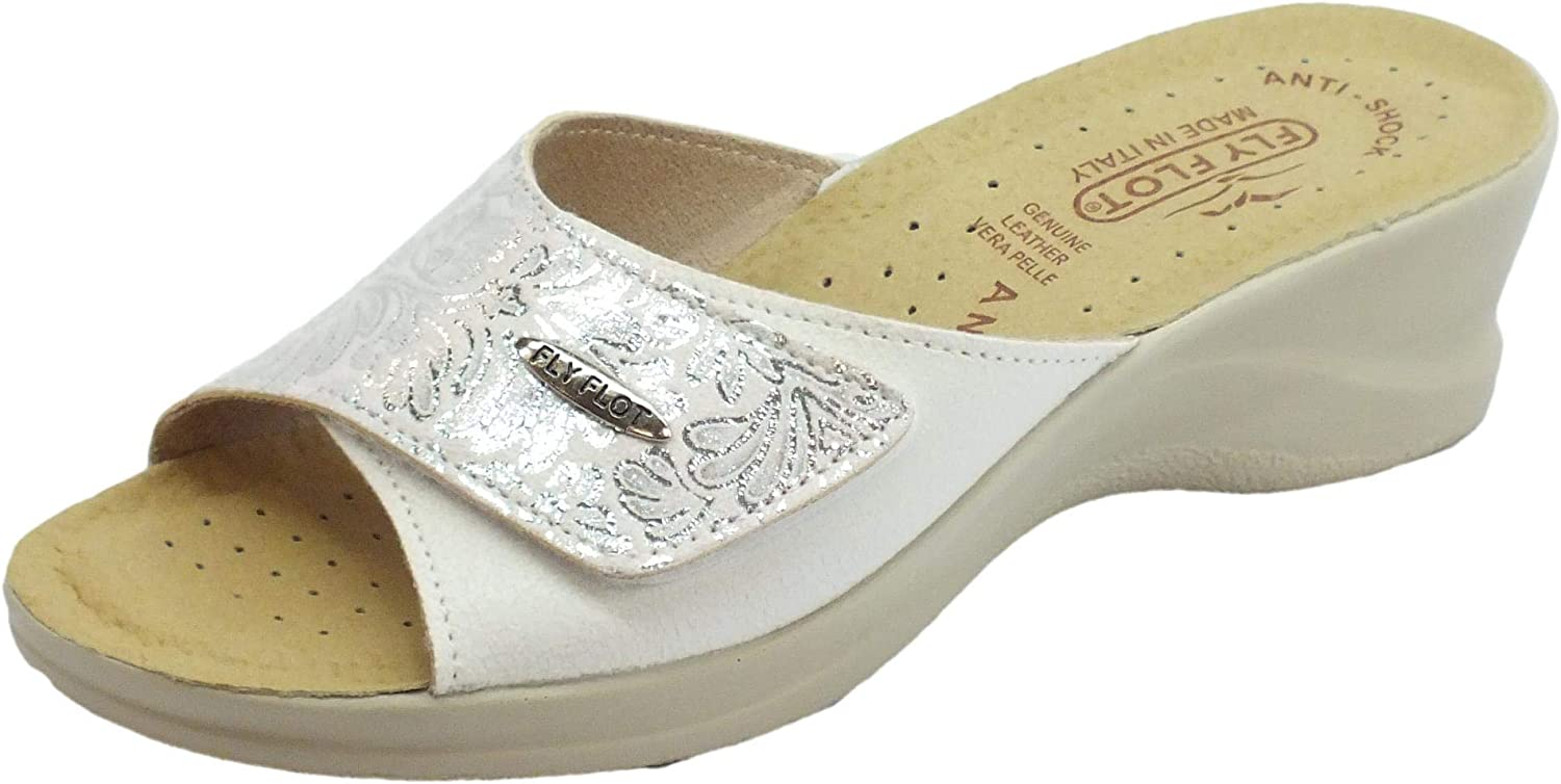 Fly Flot 96A63 6E Slippers Slippers Woman Comfort Leather White