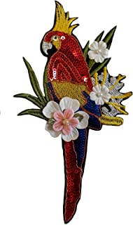 Parrot Sequins Applique sew on for Clothes Bird with Fabric Flower and Beads