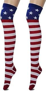 Women's USA Flag Knee High Socks Stars & Stripes Cotton