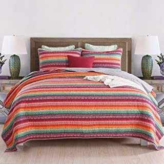 nordmiex Cotton Bedspread Patchwork Quilt Sets Striped Jacquard StyleAll Season,3-Piece Bohemia Quilt Set,Queen Size,Ultra Soft Bed Quilts Quilted Coverlet Great for Bedroom,Red Striped