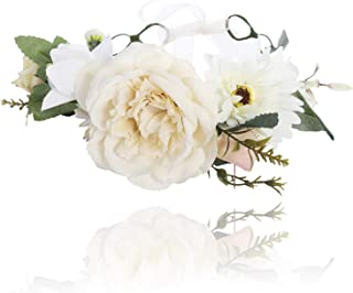 Flower Crown Bohemian Floral Headdress - AWAYTR Female Flower Headband Hair Wreath Wedding Hair Accessories (Beige + white)