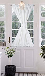 Tiny Break French Door Panel for Privacy - Functional 100% Cotton Room Darkening Sidelight Curtain Patio Door Blind and Shade Panel (56W by 40L Inches, White, Tie Back Included, 1 Panel)
