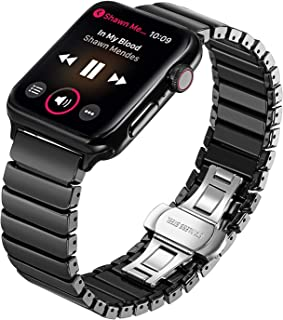TRUMiRR for Apple Watch Band, Full Ceramic Watchband for iWatch Apple Watch 42mm 44mm Series 1 2 3 4 5 Replacement Band Wrist Strap Bracelet + Upgraded Adapters (No More Screws), Black