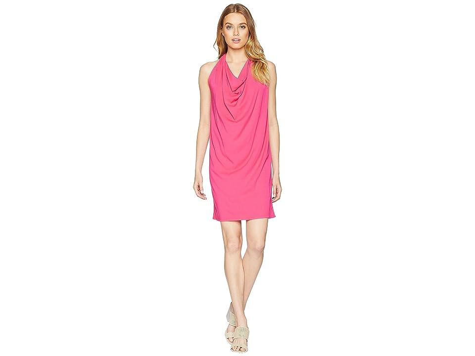 Michael Stars Rylie Rayon Draped Halter Dress (Pink Punch) Women