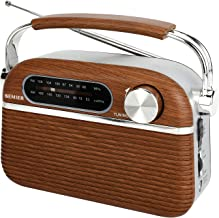 SEMIER Retro AM FM Portable Radio Bluetooth Speak,Battery Operated Radio by 2X D Cell Batteries Or AC Power Vintage Transi...