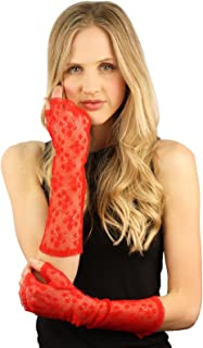 Fetching Victorian Floral Half Fingerless Nylon Lace Elbow Dressy Gloves S