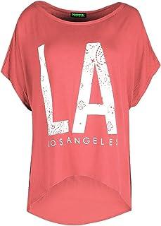 Star Fashion - Camiseta para mujer - Ajuste holgado - Mangas de murciélago