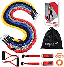 Coolrunner Resistance Bands Set, 14 PCS Exercise Tubes, 20lbs to 40lbs Workout Bands with Handles Protective Nylon Sleeves Door Anchor Ankle Strap, Elastic Exercise Bands for Men Women - up to 150lbs