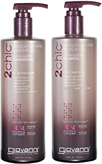Giovanni 2chic Brazilian Keratin and Argan Oil Ultra-Sleek Conditioner and Shampoo, 24 Fluid Ounce