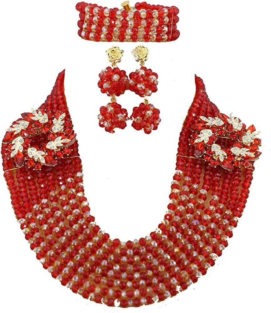 Africanbeads African Beads Jewelry Set,African Costume Jewelry Set,Nigerian Wedding Jewelry Set