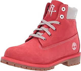 "Timberland Kids Boy's Houston Rockets 6"" Premium Boot (Big Kid) Medium Red Nubuck 5 Big Kid M"