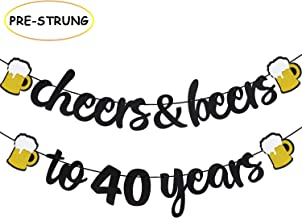 Joymee Cheers & Beers to 40 Years Black Glitter Banner for 40th Birthday Wedding Anniversary Party Supplies Decorations - PRESTRUNG