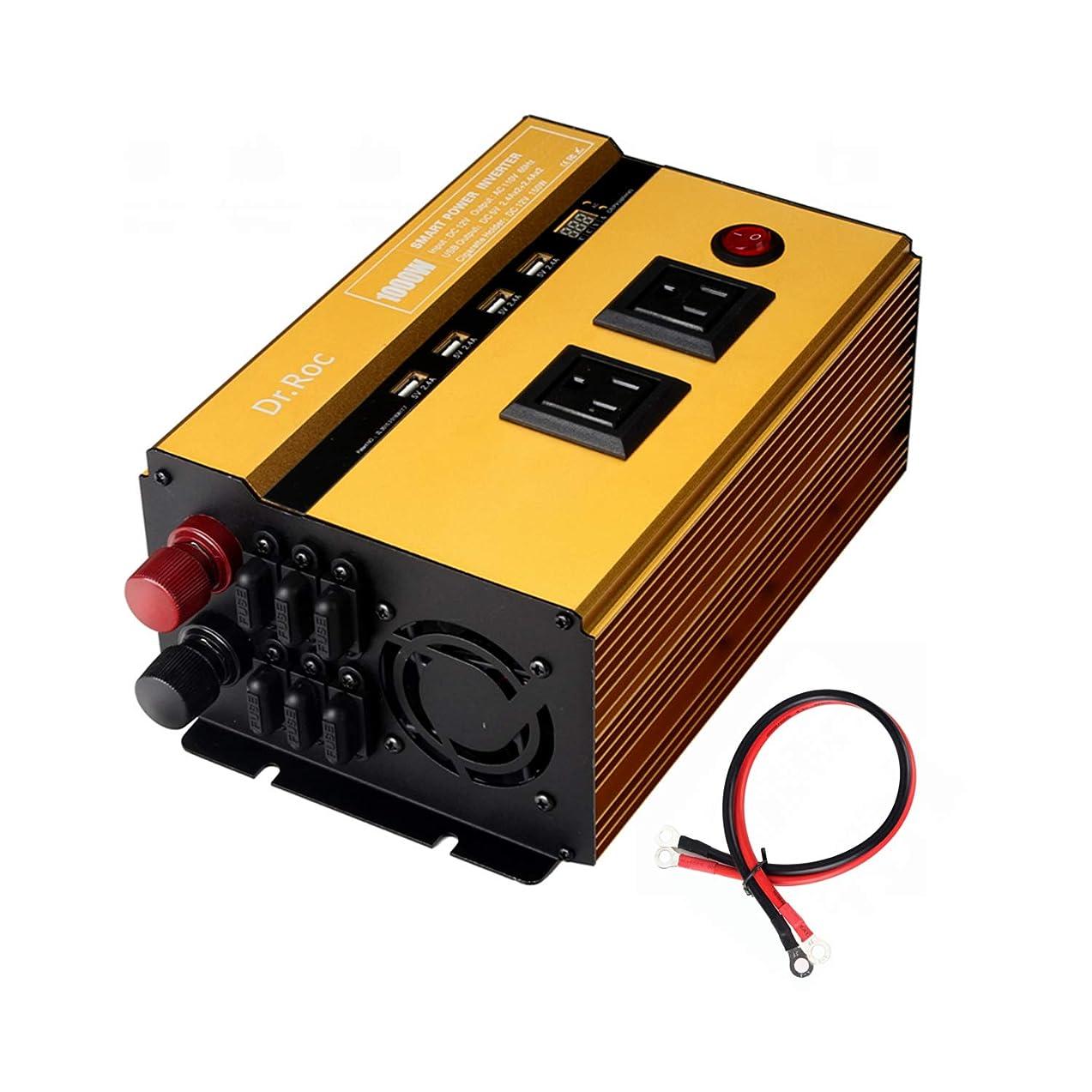 Dr.Roc 1000W Power Inverter DC 12V to AC 110V Car Adapter Car RV Pickup Home Power Converter - 2 AC Outlets,2 Cigarette Lighter Outlets,4 USB Charger,LED Current Voltage Meter