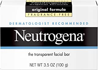 Neutrogena Original Fragrance-Free Facial Cleansing Bar with Glycerin, Pure & Transparent Gentle Face Wash Bar Soap, Free of Harsh Detergents, Dyes & Hardeners, 3.5 oz (Pack of 10)