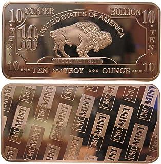 10 oz Ten Troy Ounce USA American Buffalo .999 Pure Copper Bullion Bar Cu Element CMC