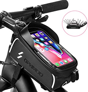 Bike Phone Front Frame Bag - Waterproof Bicycle Top Tube Cycling Phone Mount Pack with Touch Screen Sun Visor Large Capacity Phone Case for Cellphone Below 6.5'' iPhone 7 8 Plus xs max (Gray)