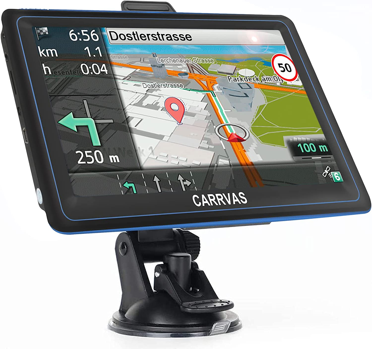 CARRVAS GPS Navigation for Car, Latest 2021 Map HD Touchscreen 7 Inch 8G 256M Broadcast Navigation System with Voice Guidance and Speed Camera Warning, Free Lifetime Maps Update of USA Europe